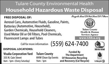Advertisement Tulare County Environmental Health Household Hazardous Waste Service